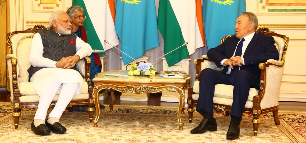 Prime Minister Shri Narendra Modi meets President Mr. Nursultan Nazarbayev in Astana on June 8, 2017