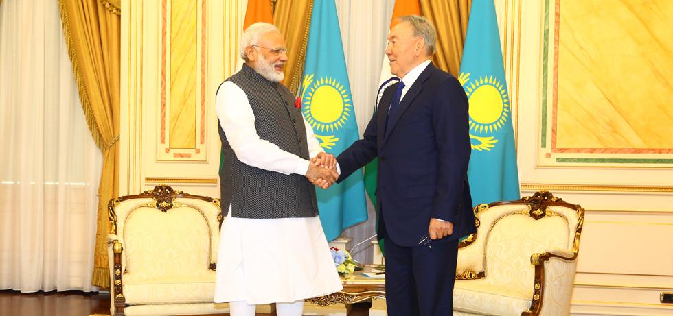 PM Modi meets President of Kazakhstan Mr. Nursultan Nazarbayev in Astana on 8th June, 2017 on the sidelines of the SCO Summit