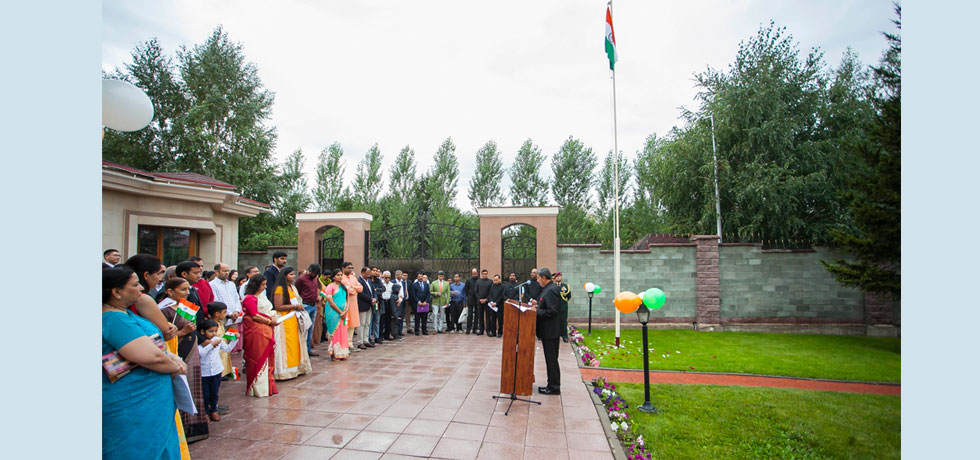 Flag hoisting ceremony at Embassy Residence on the occasion of 73rd Independence Day of India on 15.08.2019.