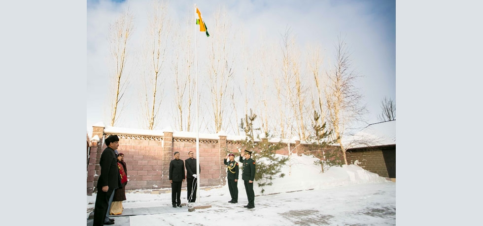 Flag hoisting ceremony organized by Embassy on 26.01.2020 on the occasion of 71st Republic Day of India.