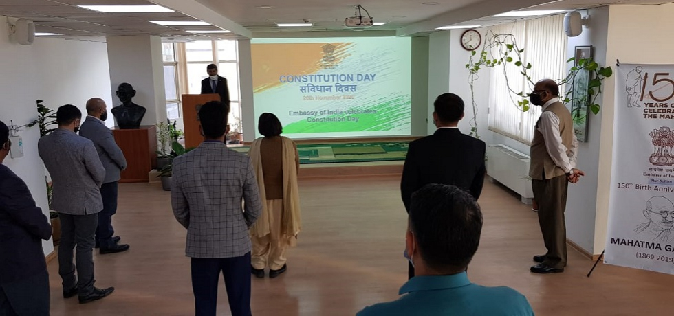 Embassy celebrated 71st Constitution Day of India on 26.11.2020.