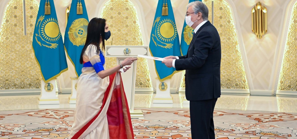 Ambassador Shubhdarshini Tripathi presented her credentials to the Honourable President of the Republic of Kazakhstan, Mr. Kassym Jomart Tokayev on 11.06.2021.