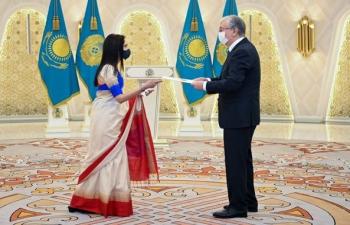Ambassador Shubhdarshini Tripathi presented her credentials to the Honourable President of the Republic of Kazakhstan, Mr. Kassym Jomart Tokayev