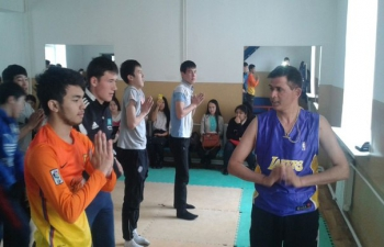 Lecture-demonstration on yoga at Kunayev College, Nur-Sultan