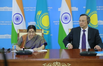 Press Statement by External Affairs Minister in Astana during her visit to Kazakhstan