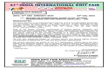 47th INDIA INTERNATIONAL KNIT FAIR , TIRUPPUR, INDIA (17-19 FEB., 2020)