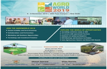 India International Agro Trade and Technology Fair 2019, 5-8 Nov. 2019 at New Delhi