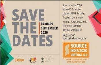 Source India 2020 Virtual 5.0 Trade Show from 7 to 9 September 2020 with the support of Ministry of Commerce & Industry and Ministry of Textiles, Govt. of India.